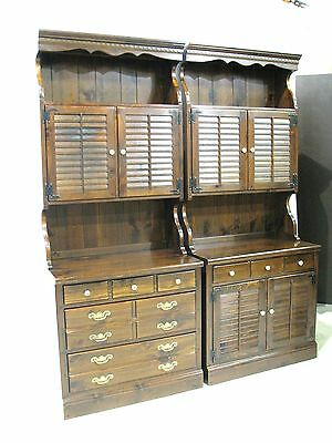*PAIR* Ethan Allen Antiqued Pine CRP Bases & Upper Cabinet Bookcases
