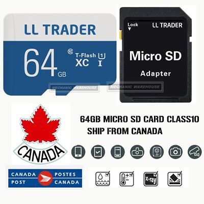 64GB Ultra Micro SD Card TF Memory SDHC UHS-1 for Mobile Lap Camera w/ADAPTER CA