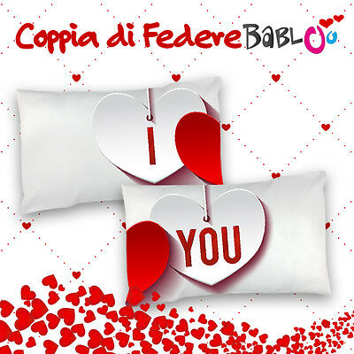 "Coppia Di Federe Love Per Cuscini ""I Love You"""