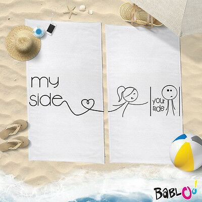 """Coppia di Teli Mare Love You And Me """"My Side Your Side"""""""