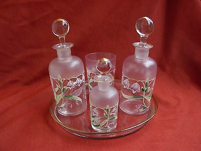 Vintage French Enameled Glass Vanity Set,five Pieces