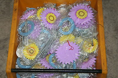 Wholesale job lot shop clearance Wooden Daisy flower wind chime Lilac/Yellow x49