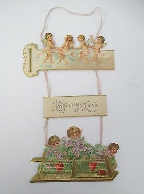 AN OFFERING OF LOVE, Vintage early 1900's Hanging Valentine