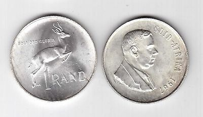 South Suid Africa – Silver 1 Rand Unc Coin 1967 Year Km#72.2 Verwoerd
