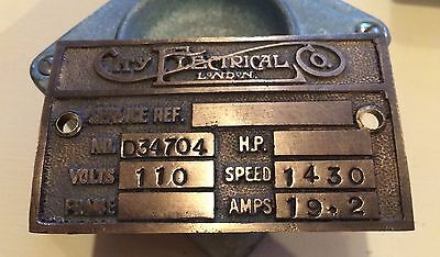 Vintage Brass Motor Sign City Electrical Co London