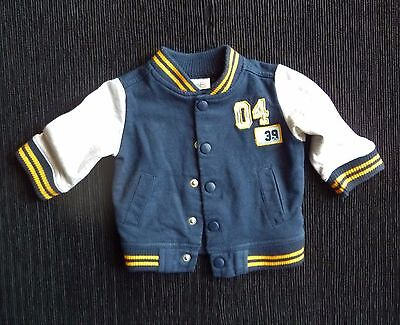 Baby clothes BOY 0-3m navy,orange,grey fleecy sweatshirt-style jacket/cardigan