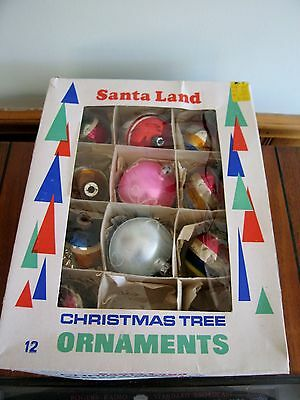 10 Vintage CHRISTMAS Tree ORNAMENT Indent Blown GLASS Hand Painted XMAS Tear
