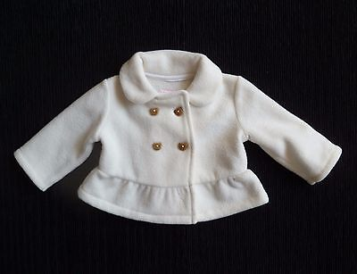 Baby clothes GIRL 0-3m Blue Zoo soft cream fleece jacket/coat bear buttons