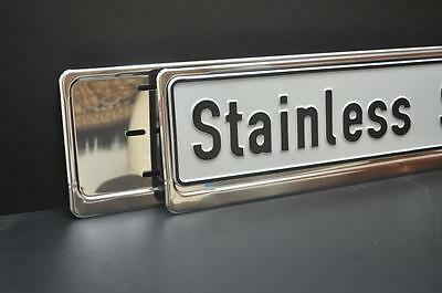 2 x CHROME STAINLESS STEEL NUMBER PLATE SURROUNDS HOLDERS FRAMES  -  HIT !