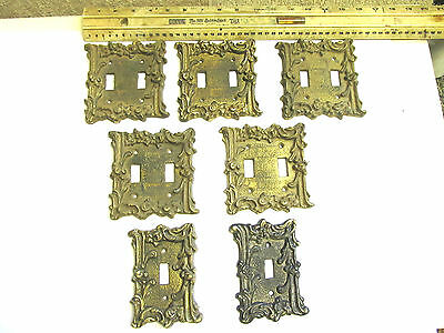 Antique Or Art Deco Brass Light Switch Covers Collectable Vintage