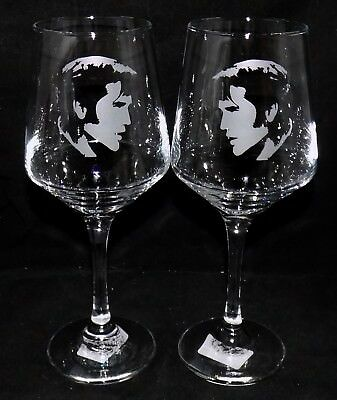 """New Etched """"ELVIS PRESLEY"""" Wine Glass(es) - Free Gift Box  - Large 390mls Glass"""