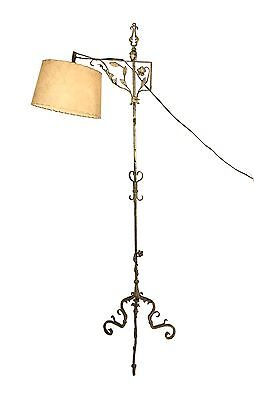 TALL Antique Samuel Yellin Era Wrought Iron Bridge/Floor Lamp Arts and Crafts