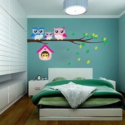 DIY removable Owl Birds Branch Vinyl Kids Home Decor Mural Wall Stickers Decal B
