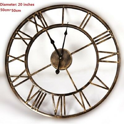 20inches DIY Vintage 3D Large Wall Clock Wrought Iron Wall Clock Watch Saat Digi