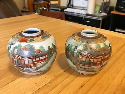 """Antique/Vintage Two Small Japanese Hand-Painted Vases 3.5"""" X 3"""""""