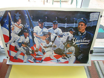 """NEW YORK YANKEES Derek Jeter """"An American Tradition""""Lithograph 1996~signed Brown"""