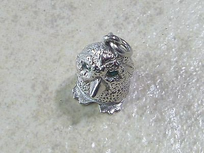 OOKPIK OWL with GREEN EYES Vintage Sterling Silver Charm Pendant