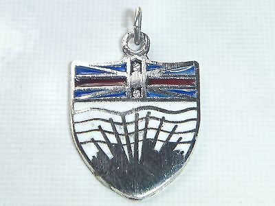 BRITISH COLUMBIA Vintage Sterling Silver Enamel COAT OF ARMS Charm Pendant