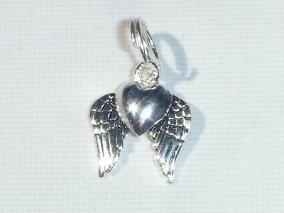 WINGED HEART Vintage Sterling Silver Charm