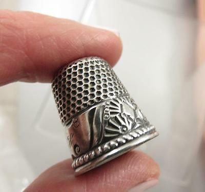Sterling Victorian Sz 8 Sewing Thimble With Geometric Designs