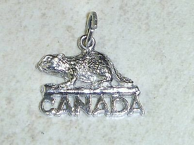 CANADA BEAVER Vintage Sterling Silver Charm Pendant