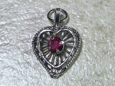JEWELED HEART Vintage Sterling Silver FILIGREE STYLE Charm Pendant