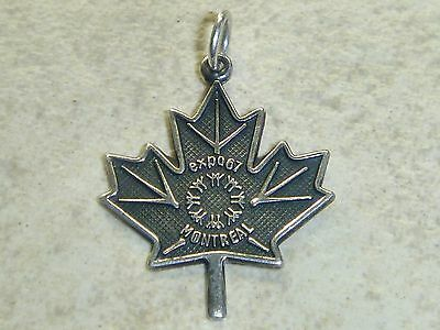 EXPO '67 MONTREAL Vintage Sterling Silver MAPLE LEAF Charm Pendant