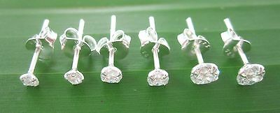 """""""3 PAIRS"""" REAL 925 STERLING SILVER 2mm 3mm 4mm ROUND CZ  STUDS EARRINGS - UNISEX"""
