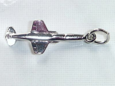 FIGHTER JET Vintage Sterling Silver MILITARY AIRCRAFT Charm Pendant