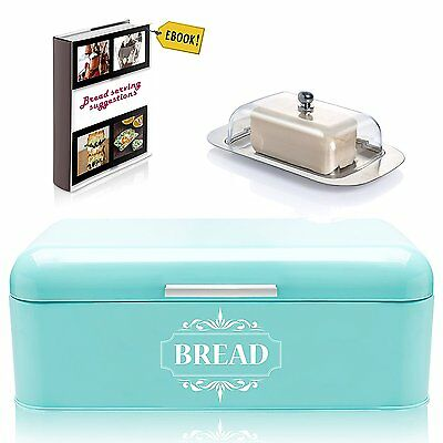 Bread Box For Kitchen Vintage Metal Stainless Steel in Retro Turquoise + FREE +