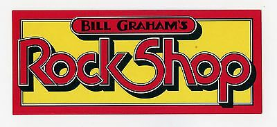Bill Graham's Rock Shop Promo Original Vintage Sticker circa early 1970's