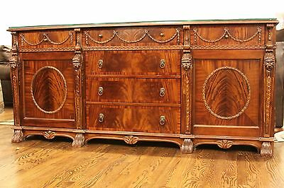 European or Asian Antique Hand Carved Solid Wood Sideboard Console Buffet Table