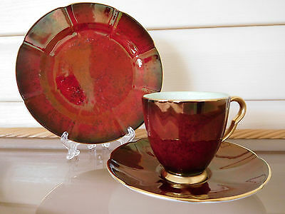 """Vintage Carlton Ware """"Rouge Royale"""" Trio Made In England 1950s"""