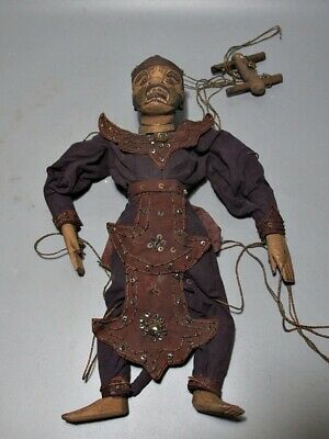 Myanmar Wood Puppet Art Doll Burmese Hanuman Marionettes Collectible Home Decor