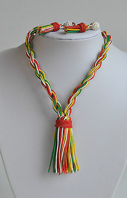RARE Art Deco Soft Plastic Celluloid Wire Torsade Necklace & Tassel Earrings