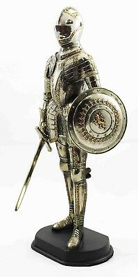 """Large Fine Medieval Knight Suit of Armor Statue Broad Sword and Shield 13""""H"""