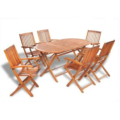 7 Piece Acacia Wood Outdoor Dining Set Garden Furniture Folding Table Chairs