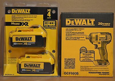 "DEWALT DCF880B 20V MAX Li-Ion Cordless 1/2"" Impact Wrench + DCB204-2 4Ah Battery"