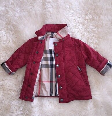 Authentic Burberry Red Check Kids Infant Baby Boy Girl Coat Jacket 9M 12M