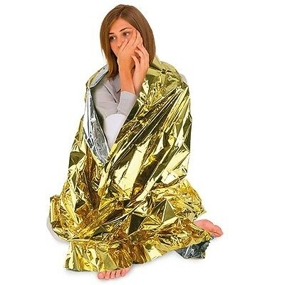 10 x BLANKET EMERGENCY THERMAL SURVIVAL COLD HEAT ALUMINIZED CAMPING