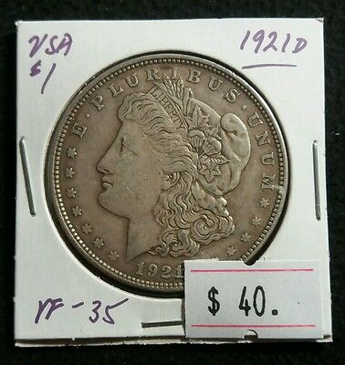 USA 1921 D Morgan Silver Dollar High Grade Really Nice Silver Coin Lot#313