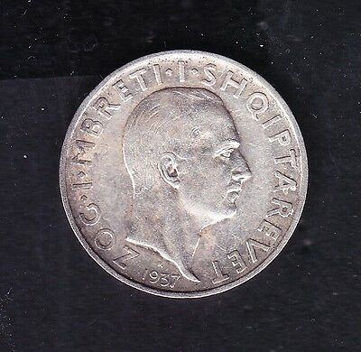 1937 Albania. 1 FR.AR. Silver coin 5 gr Rare.  See the Picture.     N  0.31