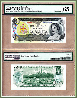 1973 $1 Bank of Canada Multi Color Solid Serial# Note 6666666 NICE PMG GEM UNC65