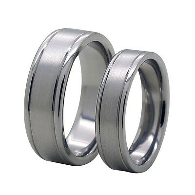 Size 3-18 Engravable 8mm or 6mm Grooves Titanium Wedding Band Ring