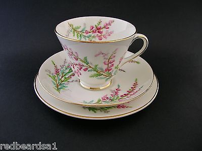 Royal Doulton Bell Heather China Trio Cup Saucer Plate Signed P Curnock c1940s