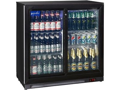 Prodis Commercial Quality Double Sliding Door Bottle Cooler - 220ltrs LED light