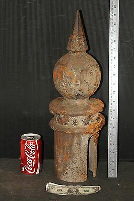 FINIAL cast iron HITCHING POST ball & pyramid CAP VICTORIAN era ANTIQUE VINTAGE