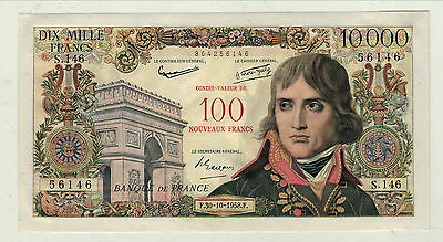 Rare Sup 10 000 Francs Surcharge 100 Nf   F30/10/1958 F