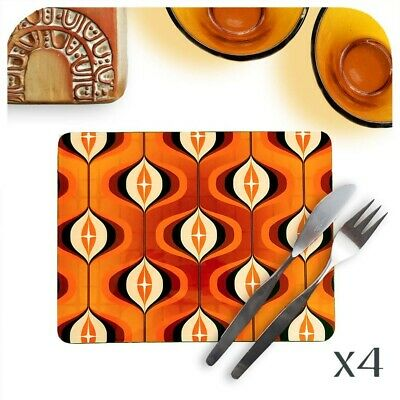 Mid Century Op Art Placemats, Orange Placemats,1970's style, Retro Placemats