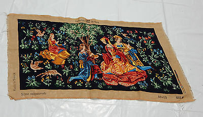 Vintage French Beautiful Scene Needle Point Tapestry 112x60cm (T674)